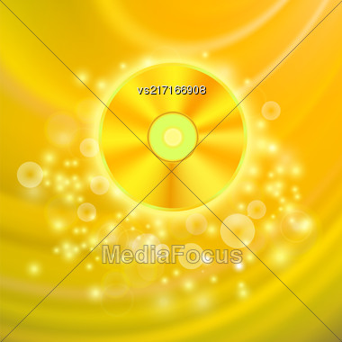 Gold Compact Disc Isolated On Yellow Wave Blurred Background Stock Photo