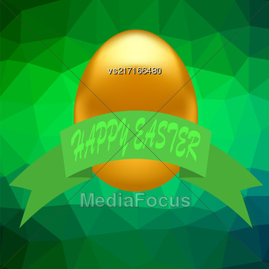 Gold Easter Egg Isolated On Green Polygonal Background Stock Photo