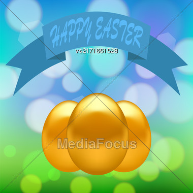Gold Easter Eggs On Colorful Blurred Spring Background Stock Photo