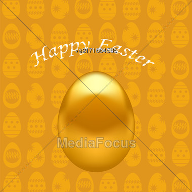 Gold Easter Eggs On Orange Spring Background Stock Photo