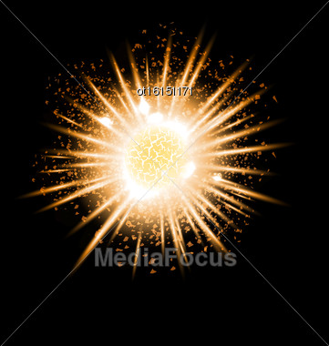Gold Grand Explosion Of Planet. Big Bang. Catastrophe. Formation Of The Universe. Vector Stock Photo