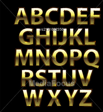 Gold Grunge Alphabet. Capital Yellow Metal Letters Isolated On Black Background Stock Photo