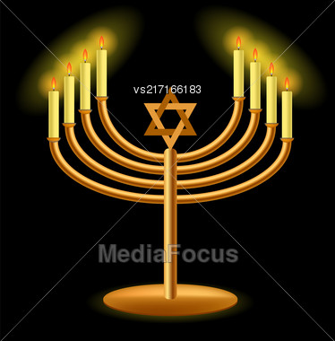 Gold Menorah With Burning Candles Isolated On Dark Background Stock Photo