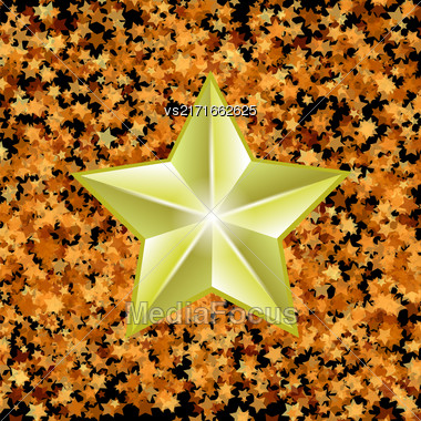 Gold Metal Star On Yellow Starry Background Stock Photo