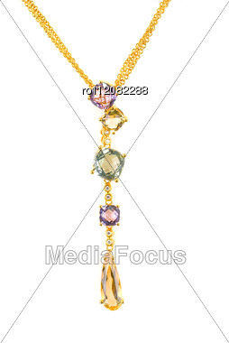 Gold Pendant With Gems Stock Photo