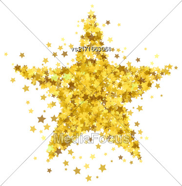 Gold Star Burst Isolated On White Background. Starry Pattern Stock Photo