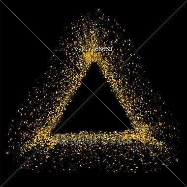 Gold Triangle Frame Isolated On White Background Stock Photo