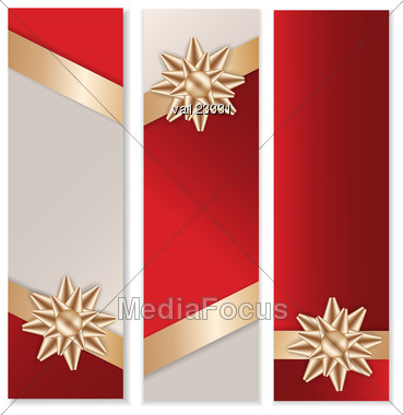 Golden Bow And Ribbon With Red Background Banner Set. Stock Photo