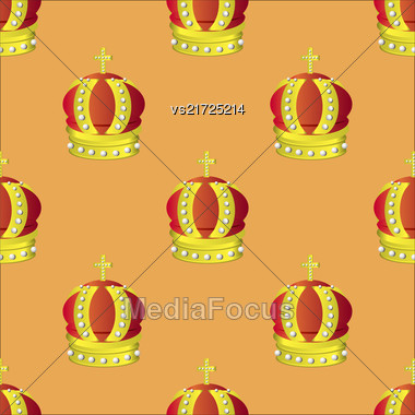 Golden Crown Seamless Pattern Isolated On Orange Background Stock Photo