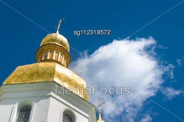 Golden Cupola Of Orthodox Church Stock Photo