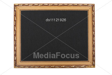 Golden Frame With Black Paper Background Stock Photo