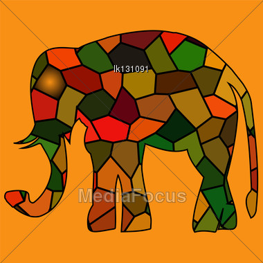 Golden Framed Elephants Mosaic In Light Rays Stock Photo