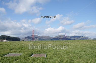 Golden Gate Bridge From Crissy Field Stock Photo