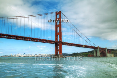 Golden Gates Bridge In San Francisco Bay In The Morning Stock Photo