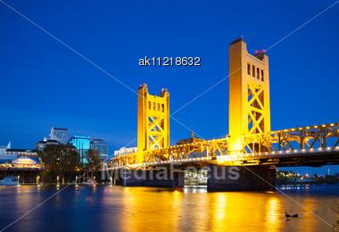 Golden Gates Drawbridge In Sacramento In The Night Time Stock Photo