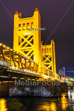 Golden Gates Drawbridge In Sacramento At The Night Time Stock Photo