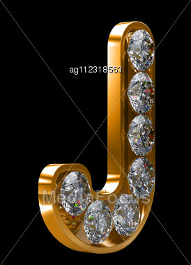 Golden J Letter Incrusted Diamonds Other Characters My Stock Image