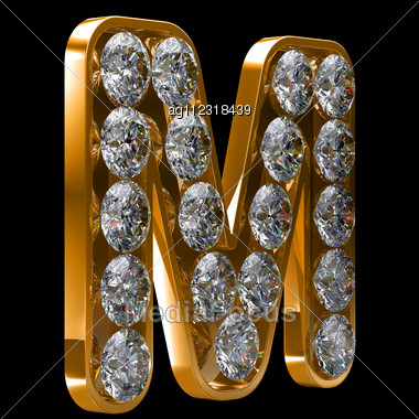M Letter In Diamond Golden M Letter Incrusted With