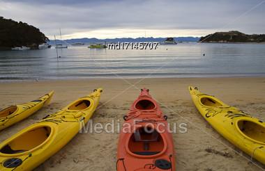 Golden Sand Beach New Zealand Abel Tasman National Park Kayak Stock Photo