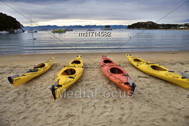 Golden Sand Beach New Zealand Abel Tasman National Park Kayak Stock Photo