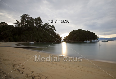 Golden Sand Beach New Zealand Abel Tasman National Park Stock Photo