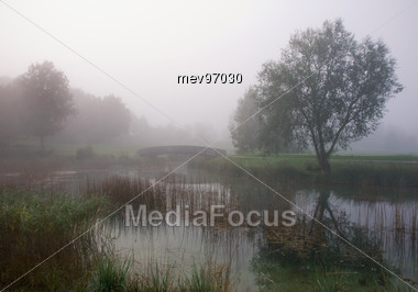 Golf Course, Foggy Mood Stock Photo