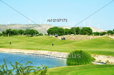 Golf Field In Cyprus Mountain Village. Stock Photo