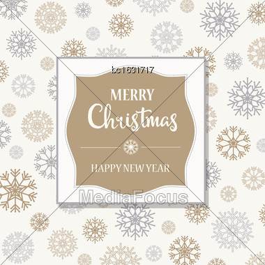 Gorgeous Christmas Card With Silver And Golden Snowflakes, Vector Illustration Stock Photo