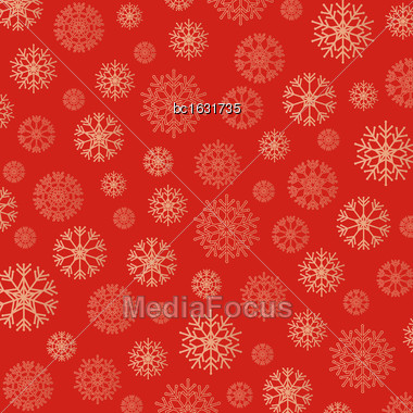 Gorgeous Snowflakes Background In Golden And Red. Vector Illustration Stock Photo