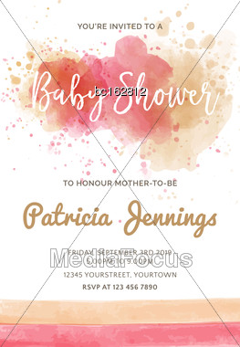 Gorgeous Watercolor Baby Shower Invitation, Vector Format Stock Photo