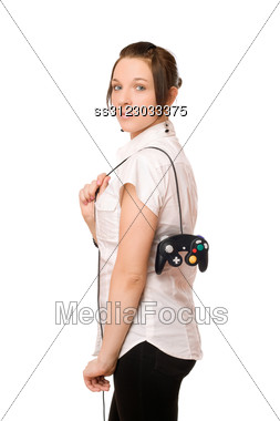 Gorgeous Young Brunette Lady With A Joystick Stock Photo