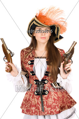 Gorgeous Young Woman With Guns Dressed As Pirates Stock Photo