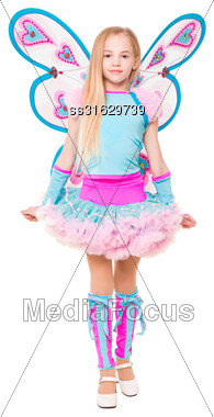 Graceful Little Blond Girl Posing In Butterfly Dress. Isolated On White Stock Photo