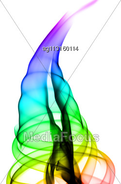 Gradient Colorful Puff Of Fume Over The White Background Stock Photo