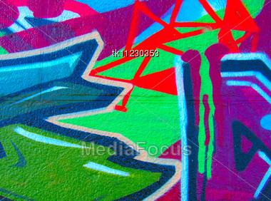 Graffiti on grey wall Stock Photo