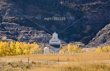 Grain Elevator Badlands Alberta Canada Autumn Fall Stock Photo