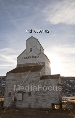 Grain Elevator Near Drumheller Vintage Old Wooden Stock Photo