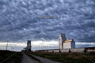 Grain Elevator Saskatchewan Blue Sky Storage Canada Stock Photo