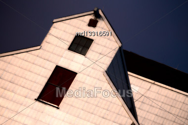 Grain Elevator Saskatchewan Close Up Canada Lines Stock Photo