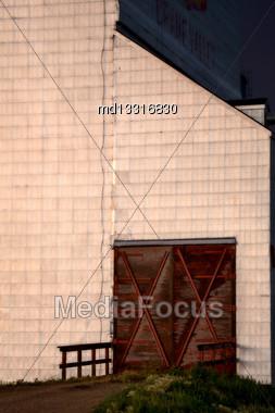 Grain Elevator Saskatchewan Close Up Canada Lines Stock Photo
