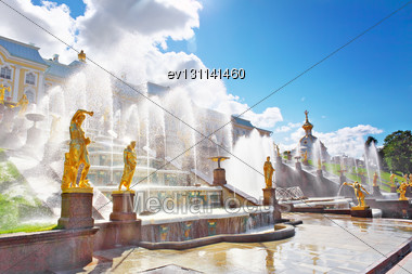 Grand Cascade In Pertergof, Saint-Petersburg, Russia Stock Photo