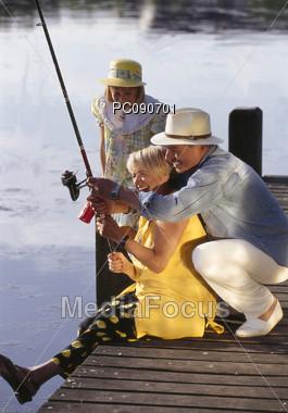 Grandparents Going Fishing Stock Photo