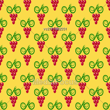 Grapes Seamless Pattern. Red Grapes Silhouettes Background Stock Photo