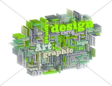 Graphic Design Studio. Trendy Print Concept Word Cloud Stock Photo