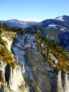 Graubuenden Or Grisons, The Largest And Easternmost Canton Of Switzerland. Forest And Mountains, Painting Effect. Stock Photo