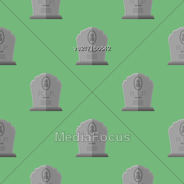 Gravestone Seamless Pattern On Green Background. Grey Stone Monuments On Halloween Cemetery. Grave Template Stock Photo