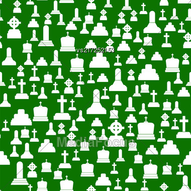 Gravestone Seamless Pattern On Green Background. White Stone Monuments On Halloween Cemetery. Grave Template Stock Photo