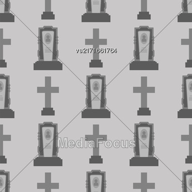 Gravestone Seamless Pattern On Grey Background. Granitic Stone Monuments On Halloween Cemetery. Grave Template Stock Photo