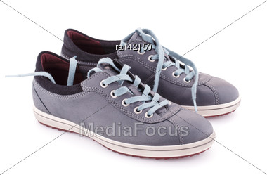 Gray Boots Isolated On White Background Stock Photo