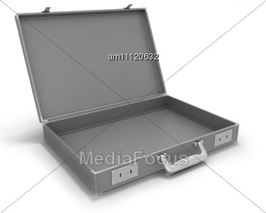 Gray Briefcase Opened Stock Photo